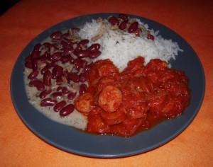 Riz et haricots rouges, plat originaire de l'Ile de La Réunion